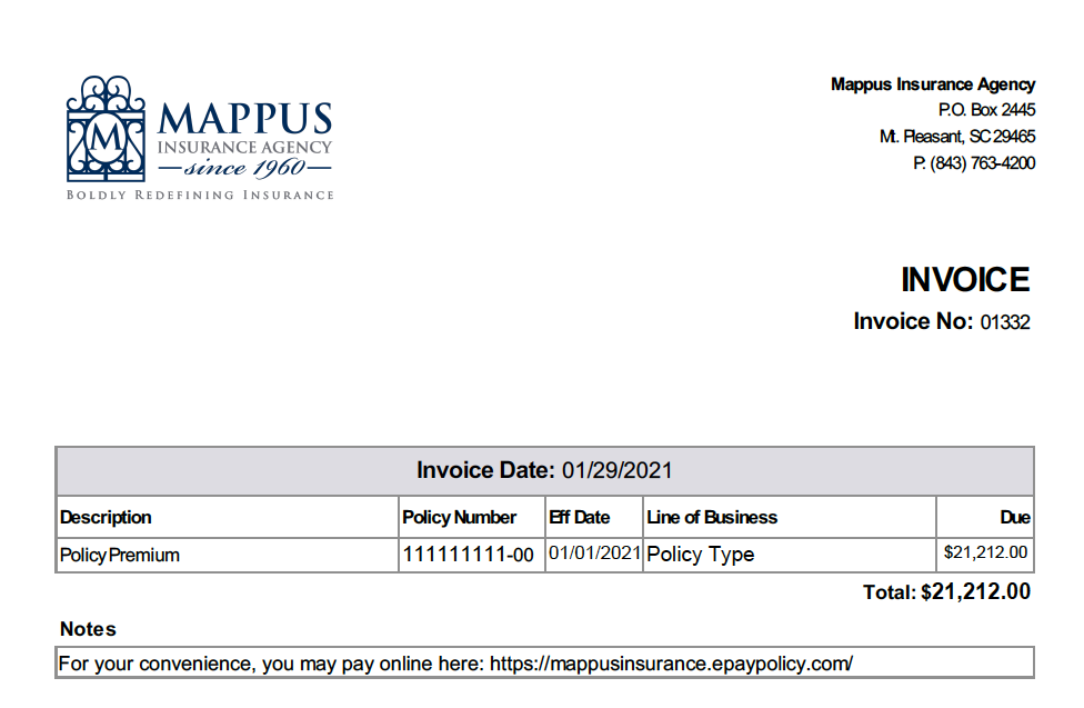 Sample Mappus Insurance Agency Invoice for Agency Billed Policies
